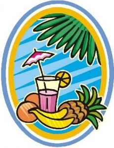 tropical drink and fruit under a palm tree
