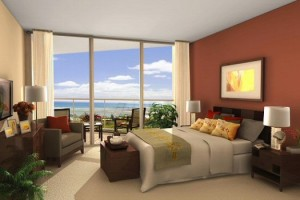 Bedroom with an ocean beach view